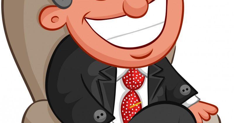 Dessin d'homme heureux en costume de travail inspirant le positivisme
